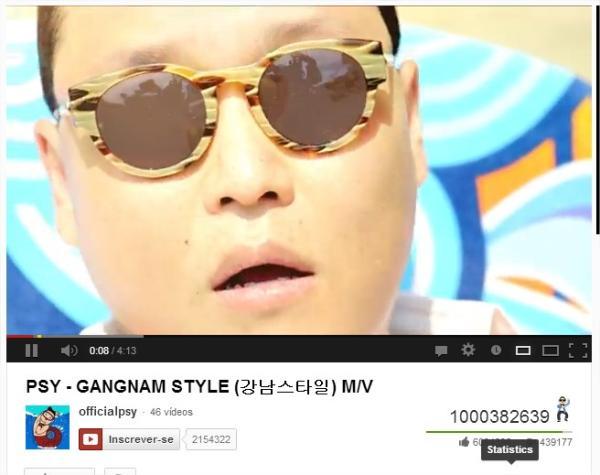 Gangnam Style  o primeiro video do YouTube a chegar a 1 bilhão de visualizações!